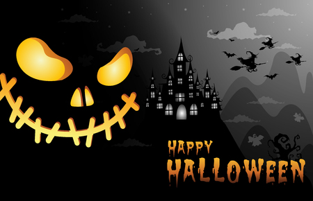 haunted house and full moon with witch and ghost,face pumpkin Halloween night background.Vector illustration. Çizim