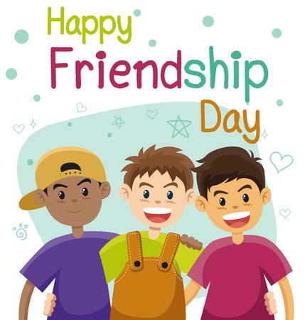 Children, three best friends. Friendship flat vector concept