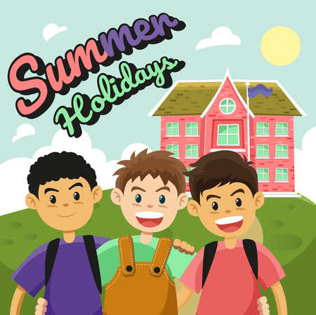Children and school Before summer holidays.cartoon flat vector