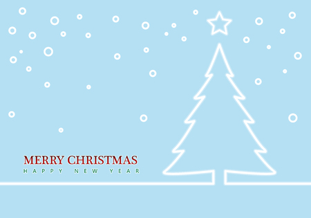 Outline Christmas tree and Stars. Christmas greeting card. Minimal abstract background. Vector illustration. Ilustrace