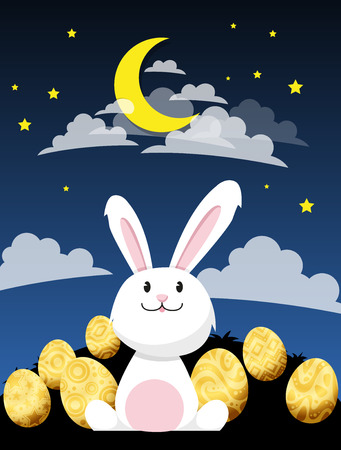 Rabbit looking at the moon In the night sky and stars.vector Çizim