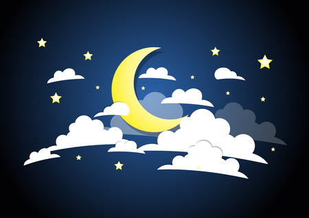 Moon, cloud and Stars In the night sky. vector Ilustrace