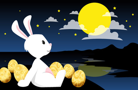 Rabbit looking at the moon In the night sky and stars. vector