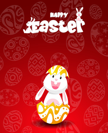Rabbit and eggs in Easter day.Bunny Ears Vector Çizim