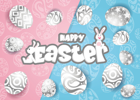 Rabbit and eggs in Easter day.Bunny Ears background Vector
