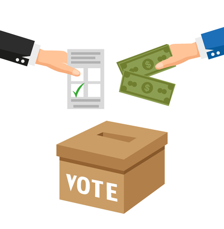Election fraud,Election dropped the card into the box.flat vector