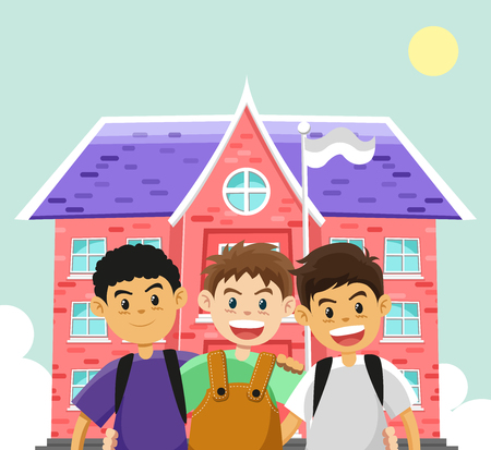 Children and school Before summer holidays. cartoon flat vector