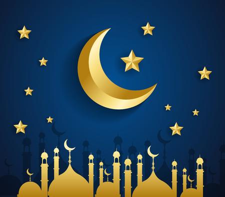 Eid Mubarak Islamic template Mubarak for muslim people - Vector