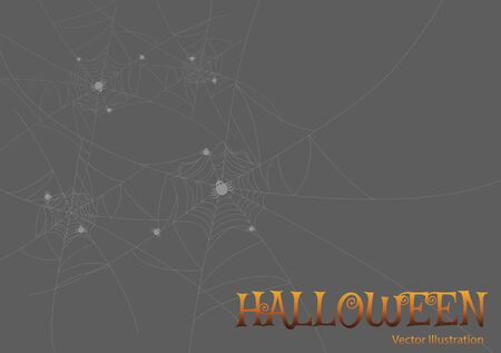 greeting card Halloween night spiders web.Vector illustration.