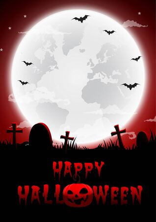 Halloween night red background,Gravestones and full moon.Vector illustration.