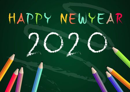 Year 2020 Education concept back to school on blackboard background