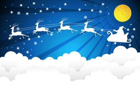 Nighttime sky with Santa Claus and full moon, clouds background, paper art
