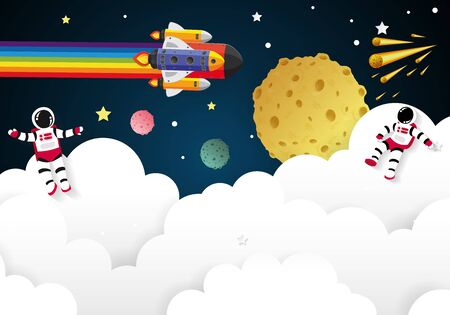 kids day for Children playing in space,vector