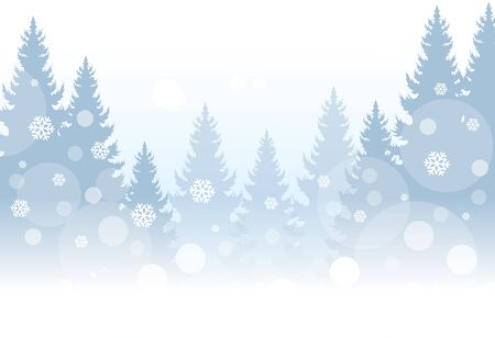 Christmas greeting. Winter landscape with coniferous forest. Vector illustration 矢量图像