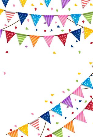 Party happy new year and Birthday Flags Background Vector