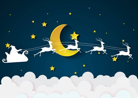 Nighttime sky with Santa Claus and full moon and flag, clouds background, paper art