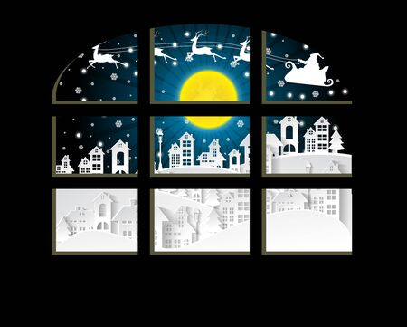 Christmas and New Years background with santa claus and village Landscape in window