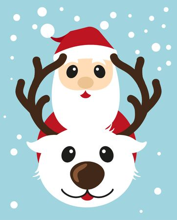Christmas card with reindeer and Santa Claus. Vector illustration 矢量图像