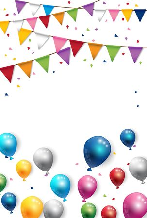 Party happy day and Birthday Flags Background Vector 矢量图像