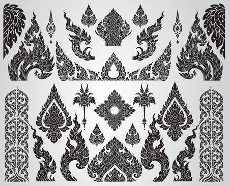 Set of Thai art element, Decorative motifs. Ethnic Art, icon vector 矢量图像