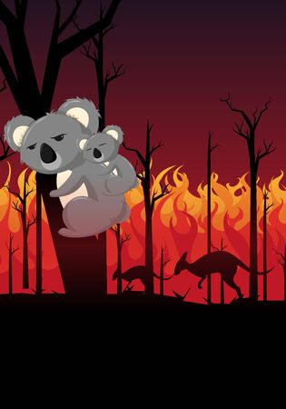 Pray for Australia.scared koala with a baby koala trying to escape from the burning forest fires