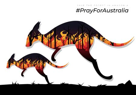 Pray for Australia.scared kangaroo with a baby kangaroo trying to escape from the burning forest fires 矢量图像