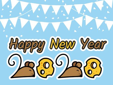 Happy New Year 2020, the mouse in number 2 and the cheese in number 0.vector 矢量图像