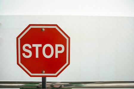 sign: Stop sign with white and gray background