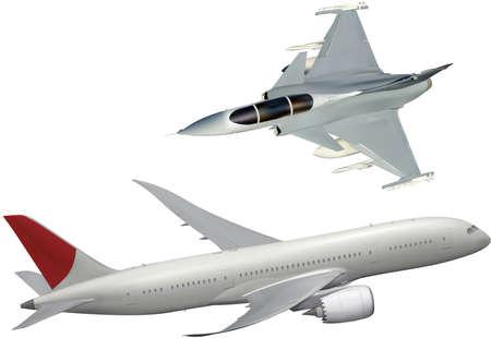 Realistic vector illustration of fighter jet and passenger plane Ilustração Vetorial