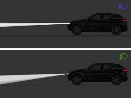 Vector illustration of vehicle's high beam vs low beam