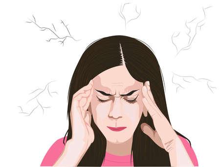 Vector illustration of women suffering from headache