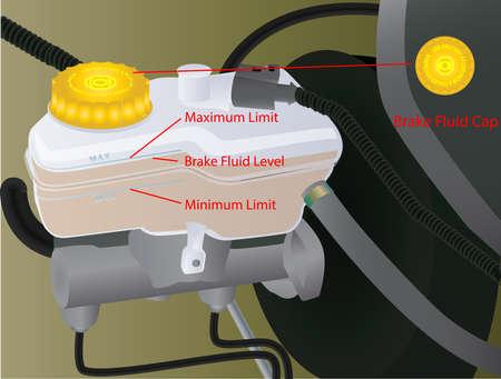 Vector Illustration of Brake Fluid Level Checking on Vehicle Vecteurs