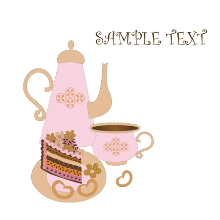 Tea set with cake on a white background