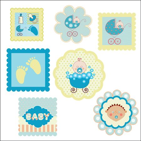 set of postcards, stickers for boys Vector