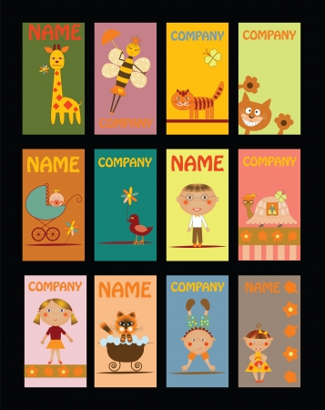 set of business cards for kindergarten Vector