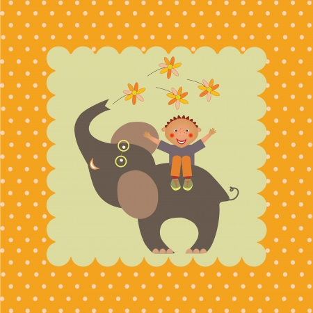 card with boy on elephant Vector