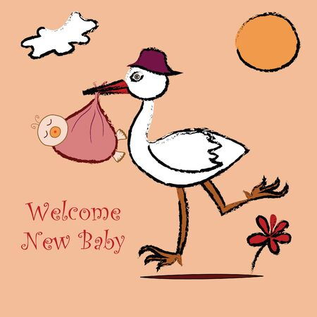 stork with a newborn Stock Vector - 15622301