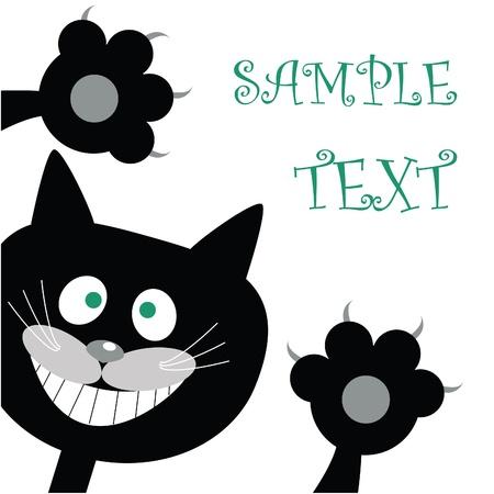 Postcard with black cat Illustration