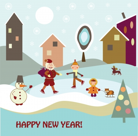 children with Santa Claus skating Stock Vector - 15622320