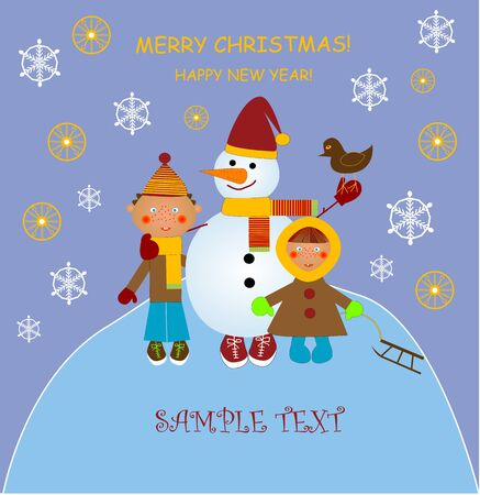 Christmas card with snowman and children