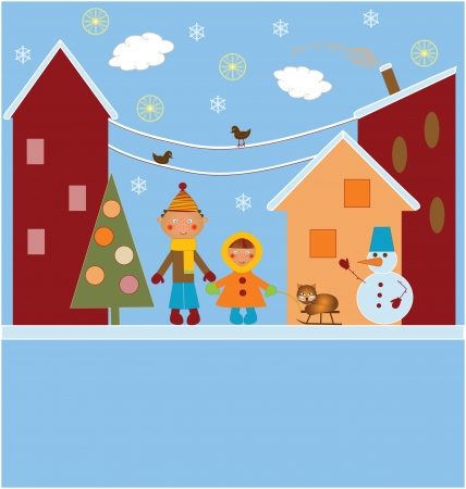 Christmas card with snowman children and a cat
