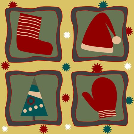 Greeting card with a sock,mitten and christmas tree