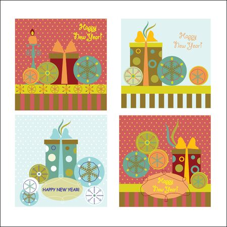 Set of  new year s cards Illustration