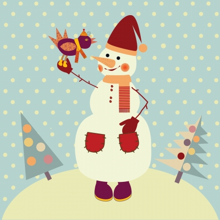 snowman with bird Stock Vector - 15684412