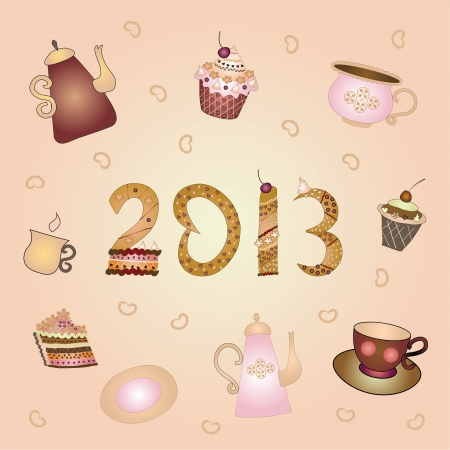 New Year tea party Vector