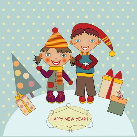Christmas card with kids and gifts Vector