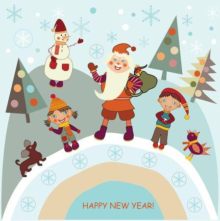 boy and girl meet Santa Claus Stock Vector - 15820049