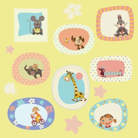 set of stickers, cards for the children Vector