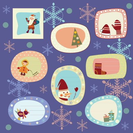 set of stickers, cards for the new year Illustration