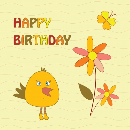 greeting card with bird Illustration
